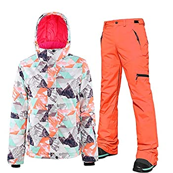 Women s Waterproof Ski Jackets Pants Set Windproof Girls Snowboard Jakets Colorful Printed Snowsuit  XL style-20
