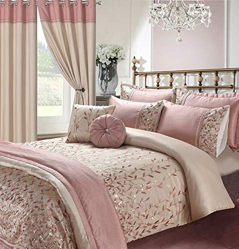 Embroidery Bedding Collection Elegant Design in UK Sizes (Marie Pink, Double Duvet Cover + 2 Pillow Cases)