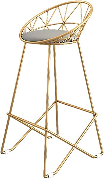 Barstools 椅子搁脚凳高脚凳软垫餐椅厨房酒吧早餐凳灰色人造皮革座椅金色金属腿最大载重 150千克颜色 65厘米