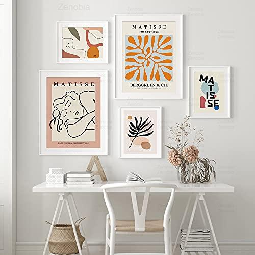 Henri Matisse Líneas abstractas Curvas Recortes Plantas Hojas Mujer Cuerpo Cara Lienzo Pintura Arte de la pared Póster Dormitorio Sala de estar Estudio Decoración para el hogar Mural