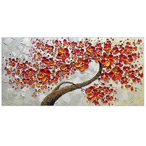 Wandschilderij decoratie bloem muur decoratie olieverfschilderij mes handgeschilderd rood woonkamer schilderij canvas modern WHITE 100x200cm