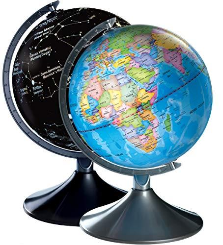 Globo terráqueo interactivo e iluminado para niños 2 en 1. De día es un globo terráqueo con todos los países y de noche un brillante mapa de las constelaciones. Incluye adaptador de corriente alterna