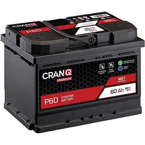CranQ Autobatterie 60Ah 12V 540A Kaltstartkraft, Starterbatterie Blei-Säure Premium-Serie Ca-Technologie, hohe Startleistung P60 wartungsfrei