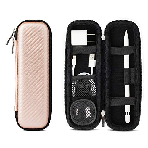 Apple Pencil Case Holder, Apple Pen Accessories,1 Pouch for Pencil Tips Elastic Strap Sleeve Pocket Protective Carrying Case for USB Cable Earphone,Samsung Stylus iPad Pro Pen Pencil Holder Rose Gold