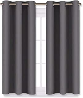 NICETOWN Grey Blackout Curtain Panels for Bedroom, Thermal Insulated Grommet Top Blackout Draperies and Drapes (2 Panels,W29 x L45 inches,Grey)