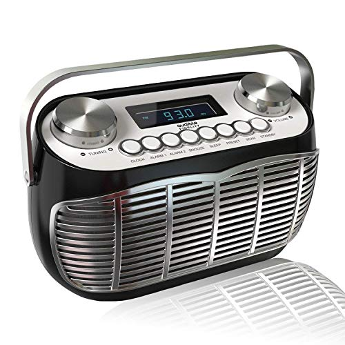 Detroit, FM AM Radio Alarm Clock Bedside Mains Powered Or Battery FM Retro Radio with LCD Display Clock Radio (Black)