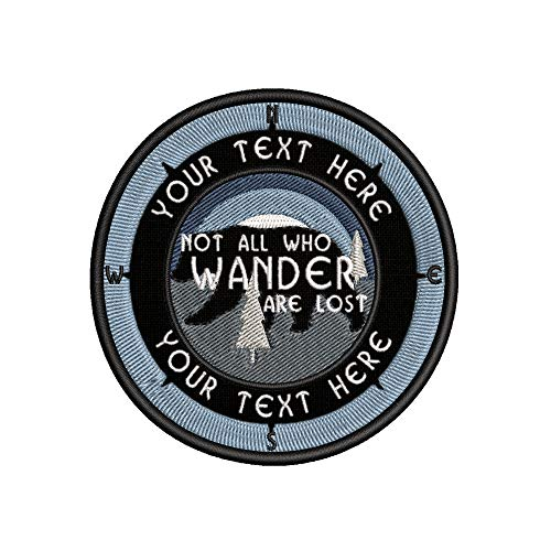"Custom Your Text Compass Bear NOT All WHO Wander are Lost 3.5"" Embroidered Patch DIY Iron On/Sew On Vacation Souvenir Travel Novelty Theme Decorative Applique Mountains Big Sky"