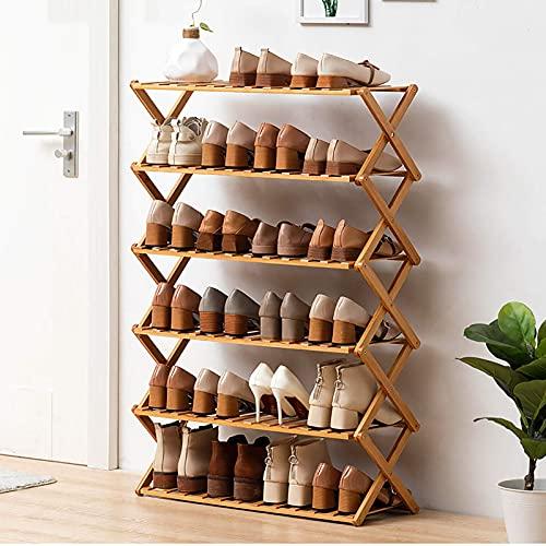 XYCSM Zapatero,Estante de Zapatos de 6 Niveles sin Instalaciones, Zapatos de Bambú Plegables de Estilo X, Estante de Alenamiento de Rack, Organizador de Zapatos para Ahorro de Espacio para Baño,