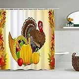 QINCO Duschvorhang,Obst Gemüse Truthahn Thanksgiving,personalisierte Deko Badezimmer Vorhang,mit Haken,180 * 210