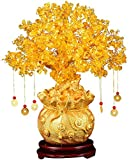 Fciqven Feng Shui Crystal Money Tree Citrine Tree Lucky Tree Bonsai Style Decoration for Tabletop Decoration Home Office Store