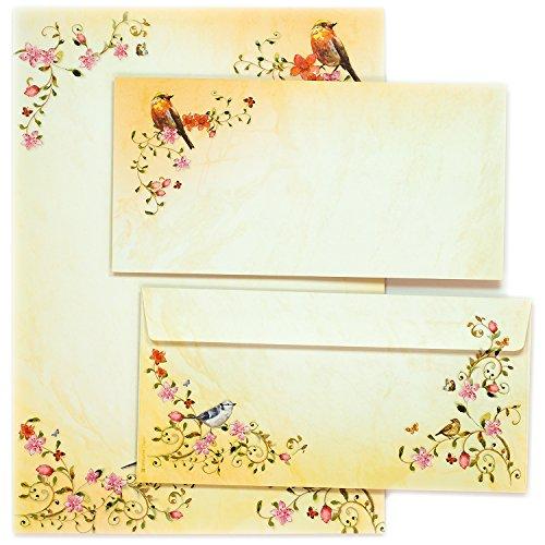 TOSKANA Briefpapier Set Blumen und Vögel (10 Sets) A4 90 g/qm mit Umschlag für Brief Oma Mutter Einladung