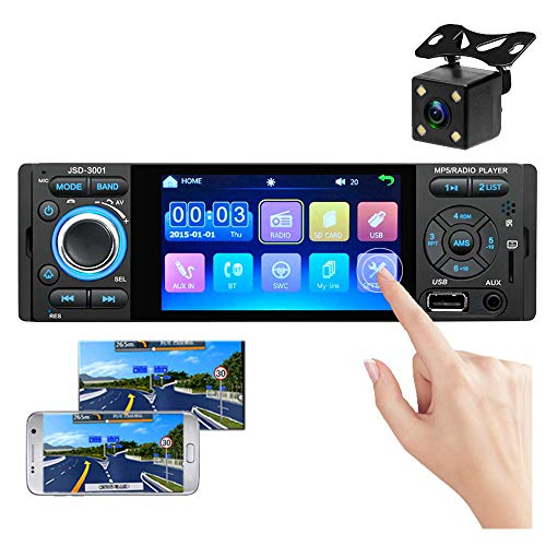 Single Din Car Stereo with Bluetooth 4 Inch Capacitive Digital Touch Screen Car FM Radio with USB TF Card AUX-in Port Support Steering Wheel Remote Control Mirror Link for Phone + Backup Camera
