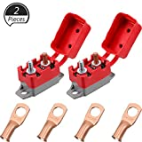 2 Pieces DC 12V - 24V Automatic Reset Circuit Breaker with Cover Stud Bolt and 4 Pieces Wire Lugs for Battery Chargers, Trucks, Buses, Electric Cars, Car Engines and Automotive Supplies (30 Amp)