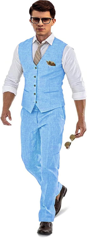 Men's outlet 2 Piece Linen Suit Set Blazer Ranking TOP16 Tux Vest Pants Jacket and fo