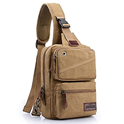 XINCADA Mens Sling Bag Chest Shoulder Bags Canvas Crossbody Backpack Messenger Bag Small Travel Bags