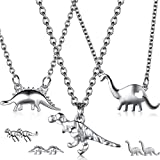 Valentine's Day Dinosaur Jewelry Set, 3 Pieces Dinosaur Pendant Necklace and 3 Pairs Dinosaur Earrings