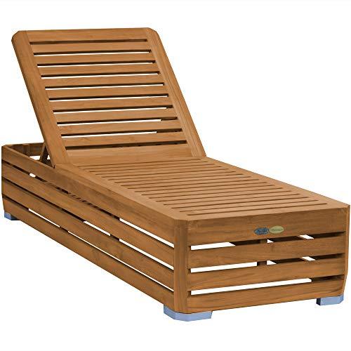 Teako Design Gartenliege Picardie Teak unbehandeltes Massivholz Wetterfest Sonnenliege Teakholz Holzliege Relaxliege