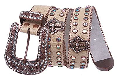 Western Snap on Cowgirl Alligator Rhinestone Cross Concho Leather Belt Size: M/L - 38 Color: Beige