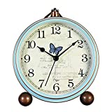 Maxspace 5.2' Small Alarm Clock, Retro Table Desk Alarm Clock Non-Ticking & Battery Operated with Quartz Movement HD Glass Clock for Bedroom Living Room Kids (Butterfly)