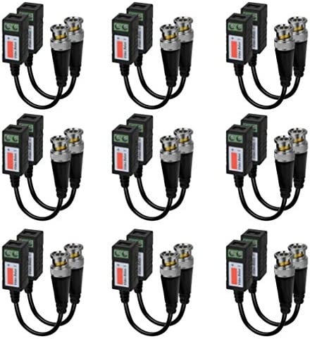 Video Balun Connectors 9 Pairs Passive Video Balun Cat5 HD Mini CCTV BNC Video Balun Transceiver product image
