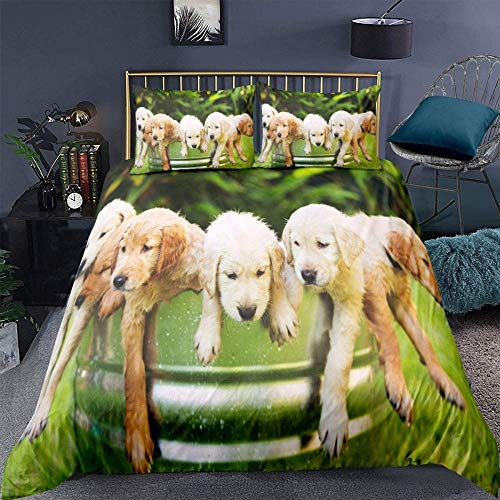 Rnvvaceo Duvet Cover Set 3 Pieces, Soft Microfiber 3D Animal green meadow cute golden retriever puppy Printed Zipper Closure Double Hypoallergenic Bedding Set with 2 Pillowcases (Single size 135 x 2