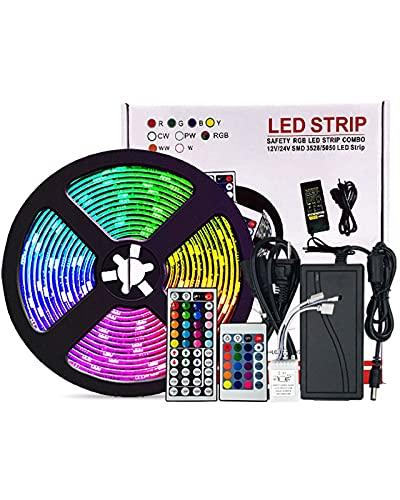 MKOIJN Luces De Tira LED 32.8FT 5050 RGB Luces De Tira De Cambio De Color con 44 Teclas IR Remoto, Luces De Tira De LED Impermeables para Dormitorio, Decoración del Hogar (Size : 32.8ft)
