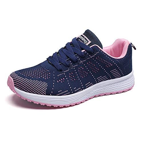 Hoylson Zapatillas de Deportivos para Mujer Running Zapatos Asfalto Ligeras Calzado Aire Libre Sneakers(Azul, EU 38)