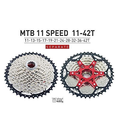 HIGHER MEN VTT Cassette 10 11 12 Vitesse 11-40T 42T 46T 50T Vélo de Montagne Vélo Roue Libre Pignons for Shimano SRAM Sunrace Pièces vélo (Color : 11S 11 42T)