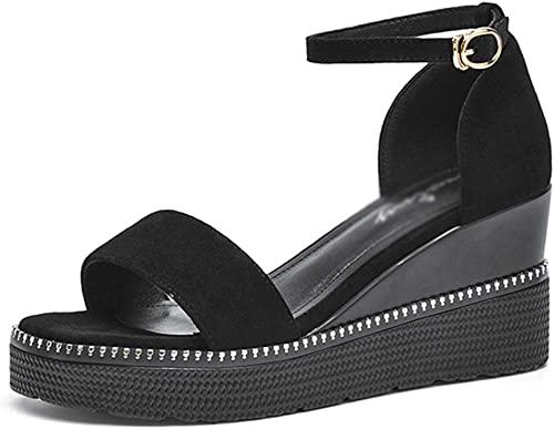 Talons Hauts pour Femmes Sandales compensées pour Femme Sandales compensées Plateforme féminine Sac avec des Chaussures pour Femmes Sandales de Plage Femmes (Couleur   noir, Taille   36 US5.5)