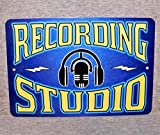 Metal Sign Recording Studio Sound Mixing Audio Engineer Music Technician Sound Control Room Aluminum Garage Man Cave #2 Blue,Vintage Metal Signs Tin Plaque Wall Art Poster 12'x8'