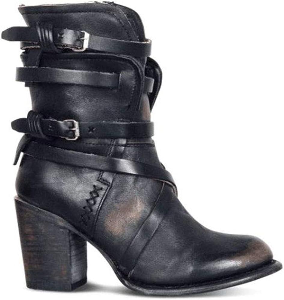 Allure Love Women's Autumn Side Zipper Mid Calf Western Style Martin Cowboy Knight Boots