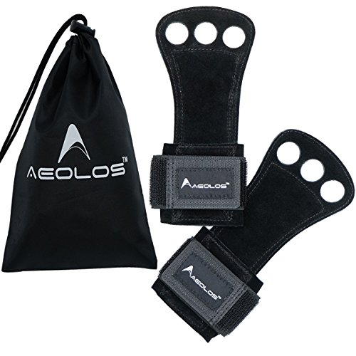 AEOLOS Leather Gymnastics Hand Grips-Great for Gymnastics,Pull up,Weight Lifting,Kettlebells and Cross Training (Black(2 Layers Leather), Medium)