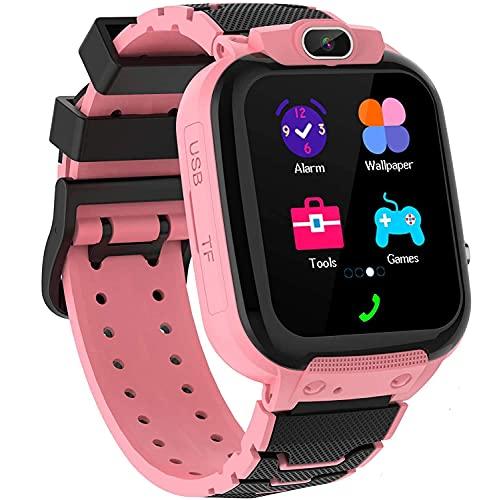 Zeerkeer Reloj Inteligente Niños,Música Smartwatch para Niños Niña Game Watch Relojes Cámara Calculadora,Regalo de Cumpleaños Niños de 3 a 12 Niños Niñas (Rosa)