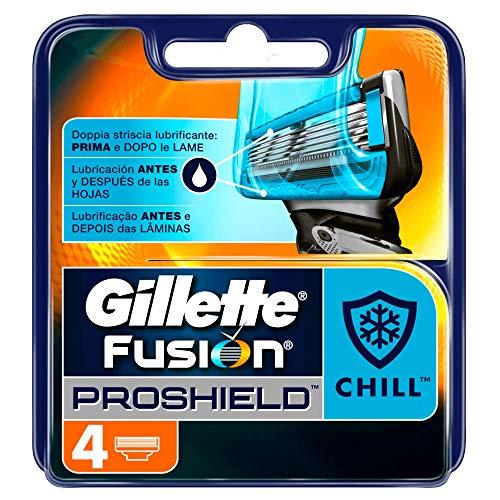 Gillette Fusion Proshield Chill Cuchillas de Afeitar Hombre, Paquete de 4 Cuchillas de Recambio
