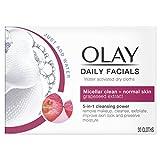 Olay Daily Facials - Paños secos activados por agua 5 en 1 - Micelar Clean para piel normal con extracto de semilla de uva - Paquete de 6