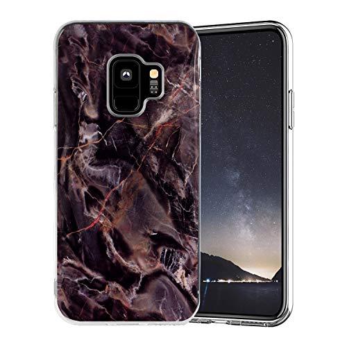 Misstars Coque en Silicone pour Galaxy S9 Marbre, Ultra Mince TPU Souple Flexible Housse Etui de Protection Anti-Choc Anti-Rayures pour Samsung Galaxy S9, Marron