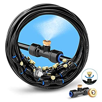 homenote Misting Cooling System 75FT  23M  Misting Line + 28 Brass Mist Nozzles + a Brass Adapter 3/4   Outdoor Mister for Patio Garden Greenhouse Trampoline for waterpark