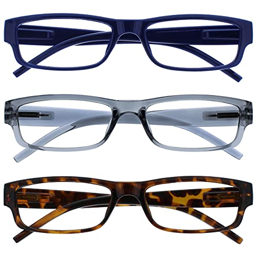 The Reading Glasses Company Blu Grigio Marrone Leggero Comodo Lettori Valore 3 Pacco Uomo Donna Rrr32-372 +2,00 - 88 Gr
