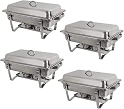 Nova Microdermabrasion 8 Quart Stainless Steel Chafer Full Size Chafer Chafing Dish Buffet Set W/Water Pan, Food Pan, Fuel Holder and Lid For Catering Warmer Set (Rectangular)