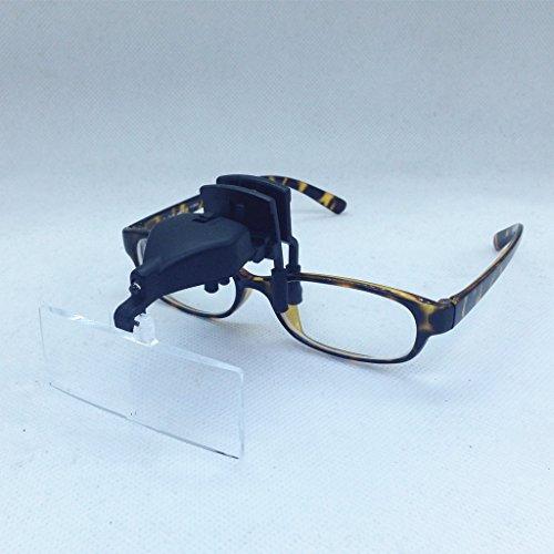 Set lupas Tipo Pinza Clip Para Engancha en Las Gafas Con Luz LED Con 3 Lupas 1.5, 2.5 y 3.5X