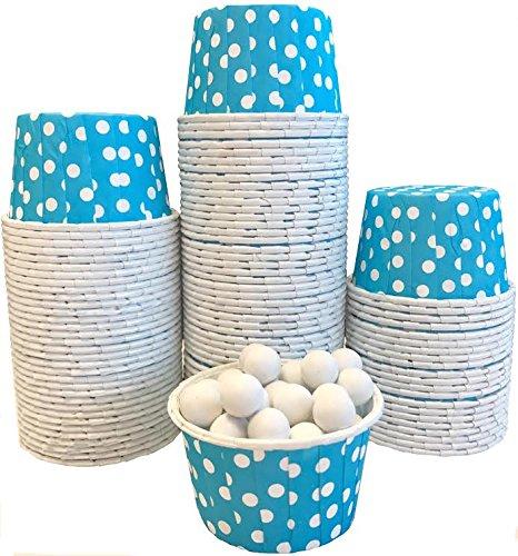 Bulk Candy Nut Mini Baking Cups - Light Blue White Dot - 100 Pack
