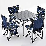 GFHJ1201 Joc de Mesa i Silla de Càmping Portàtil, Joc de Mesa i Cadires de Pícnic Plegable per a 4 Persones, Joc de Tamborets de Cadires de Barbacoa per a Jardí a l'aire lliure (Color : B)