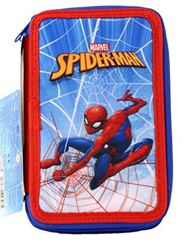 Astuccio Spiderman A Tre Piani Scomparti Per 43 Pezzi. Idea Regalo