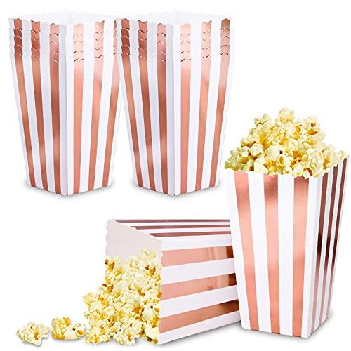 VAINECHAY 12PCS Popcorn Boîtes Boite Pop Corn Bonbons Conteneur pour Noël Anniversaire Parti Collations Cadeaux Frites Candy Or Rose Bande