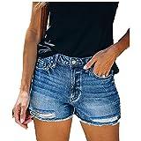 N\P Jeans de mujer con agujeros y pantalones vaqueros lavados
