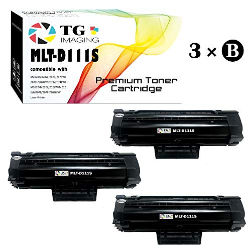 Compatible 111S MLT-D111S Toner Cartridge (3 PK, Black), for Samsung Xpress M2020, M2070 Printer, Sold by TG Imaging (Chip Included)