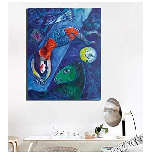 dubdubd Marc Chagall Der Blaue Zirkus Leinwand Malerei PlakateWandkunstGemälde Dekoratives Bild ModerneWohnkultur -50x60cm Kein Rahmen