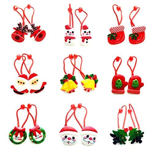 YoungerY 1 Unid Bebé Niñas Lindo Feliz Navidad Estilo de Dibujos Animados Cuerda de Pelo Elástico Árbol Papá Noel Jingle Bell Resina Cola de Caballo Titular Corbatas de Goma Diadema Regalo Rojo