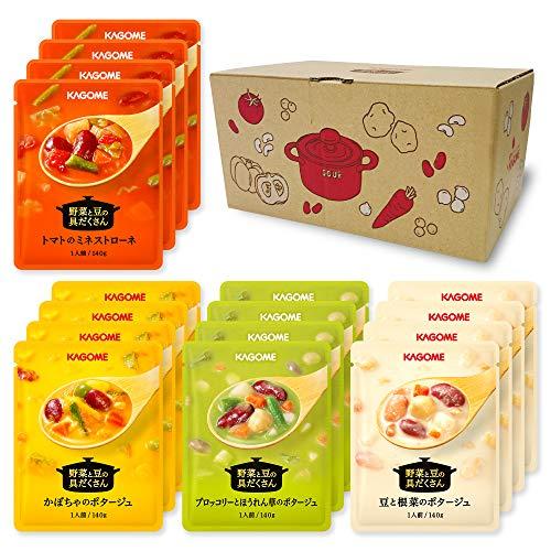 カゴメ 野菜と豆の具だくさんポタージュ スープ レトルト食品 野菜スープ 16袋