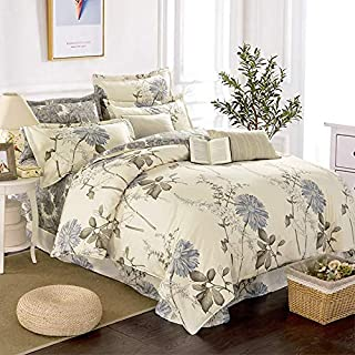 Botanical Floral Comforter Queen 100% Cotton Duvet Set 3 Pieces Bedding Set with 2 Pillowcases Beige Reversible Comforter ...